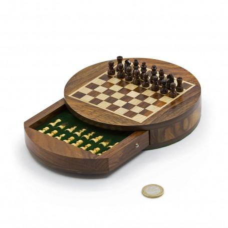 Magnetisches rundes Chess Set mit Schachfiguren und Kasten aus Naturholz