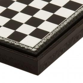 Schachbrett Behälter in Kunstleder Farbe Weiß - Schwarz von Hand eingelegt