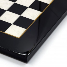 Schachbrett aus Ulmenwurzelholz elfenbein/weiß und schwarz