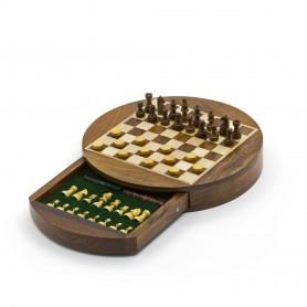Magnetisches rundes Chess Set mit Schachfiguren, Damespiel und Kasten aus Naturholz