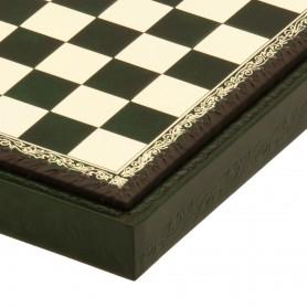 Schachbrett Behälter in Kunstleder Farbe elfenbein - grün von Hand eingelegt