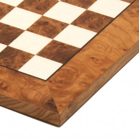 Schachbrett aus Ulmenwurzelholz natürlich poliert