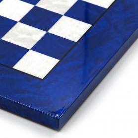 Eingelegtes Schachbrett aus Ulmenwurzelholz weiß/elfenbein und blau