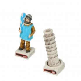 Schachfiguren Brückenspiel von Pisa Tramontana aus Alabaster und Kunstharz von Hand bemalt