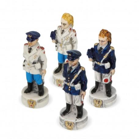 Schachfiguren Staatspolizei und Verkehrspolizei aus Alabaster und Kunstharz von Hand bemalt