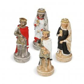 Schachfiguren Kreuzritterorden aus Alabaster und Kunstharz von Hand bemalt