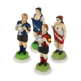 Schachfiguren Fusballmanschaften aus Alabaster und Kunstharz von Hand bemalt