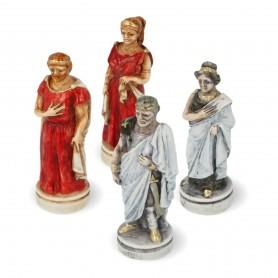 Schachfiguren Schlacht von Troja - Sparta gegen Troja aus Alabaster und Kunstharz handbemalt