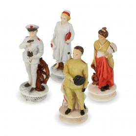 Schachfiguren Schlacht von Midway aus Alabaster und handbemaltem Kunstharz