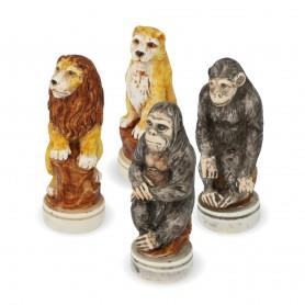 Schachfiguren die Tierwelt aus Alabaster und Kunstharz von Hand bemalt