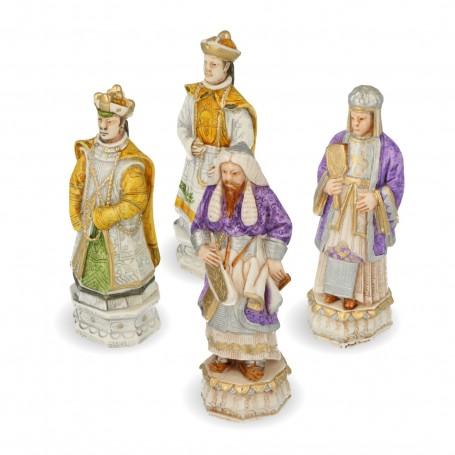 Schachfiguren aus Alabaster und Kunstharz von Hand bemalt Genghis Khan und der Kampf der Mongolen gegen das chinesische Volk