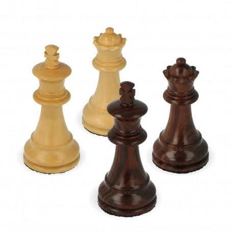 Klassische Staunton Schachfiguren aus Rosenholz von Hand bearbeitet doppelte Verbleiung