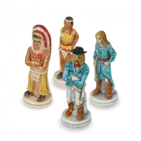 Schachfiguren Far West Cowboys gegen Indianer aus Alabaster und Kunstharz von Hand bemalt.