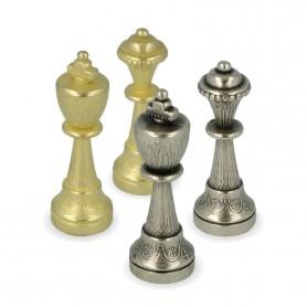 Klassische Schachfiguren Stauntonmodell aus Metall Zink Legierung mit handgefertigter Arabesken Oberfläche von Hand verarbeitet.