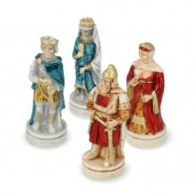Schachfiguren Schlacht von Cornwall aus Alabaster und handbemaltem Kunstharz