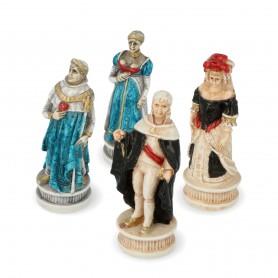 Schachfiguren Schlacht von Spanien aus Alabaster und Kunstharz von Hand bemalt.