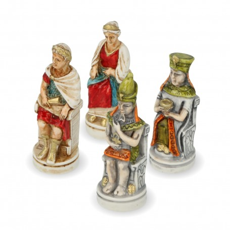 Kleopatra und Cäsar Schachfiguren aus Alabaster und handbemaltem Kunstharz