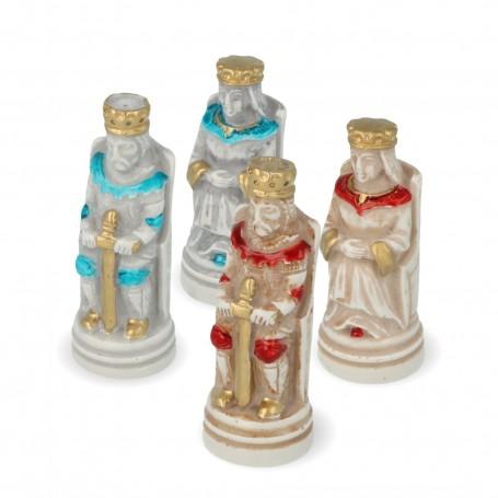 Schachfiguren Mittelalter aus Alabaster und Kunstharz von Hand bemalt
