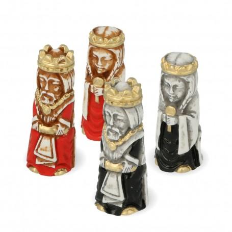 Schachfiguren Kreuzritter stilisiert aus Alabaster und Kunstharz handbemalt