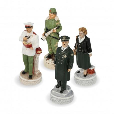 Schachfiguren zweiter Weltkrieg - Hitler gegen Stalin aus Alabaster und Kunstharz handbemalt