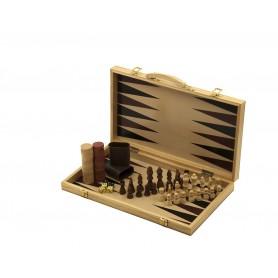 Backgammon und Schach - Koffer mit Backgammonspiel und Schachbrett mit Schachspiel