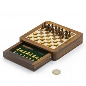 Magnetisches quadratisches Schachspiel mit Schachfiguren, Damespiel und Kasten aus Naturholz