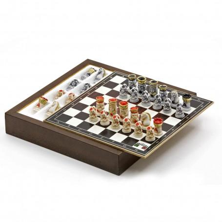 """Komplettes Schachset mit Figuren """"das Pokerspiel"""" aus Alabaster und Kunstharz handbemalt und Box Holzbehälter"""